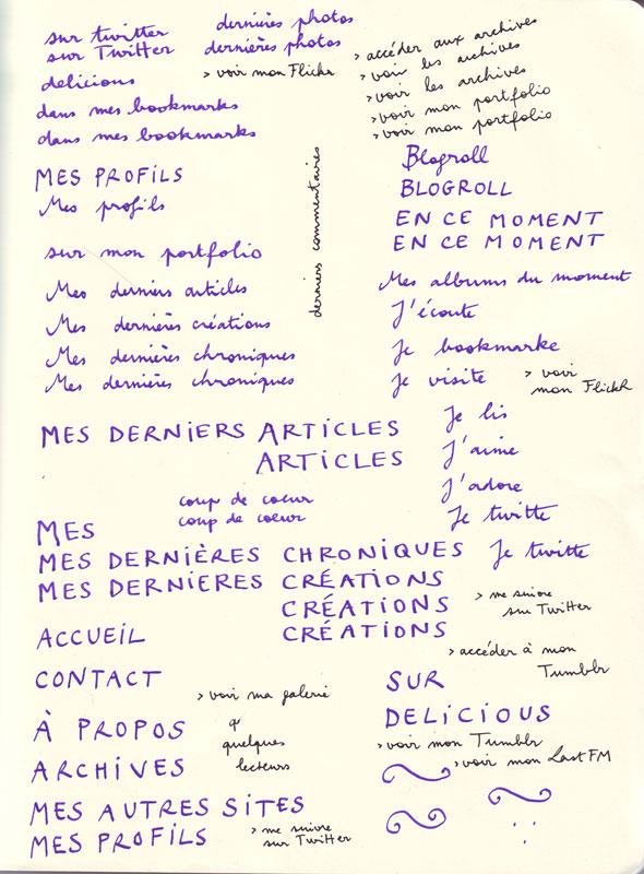 Écriture manuscrite de mes titres