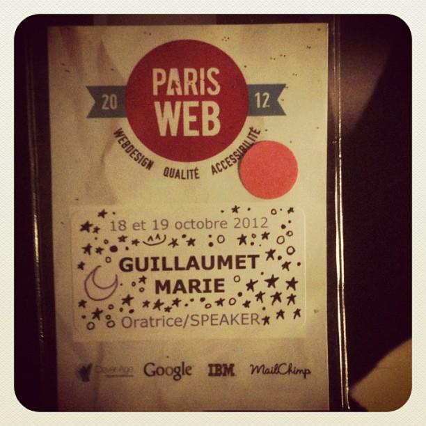Mon badge Paris Web 2012
