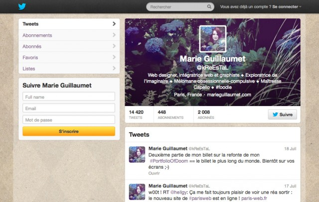 Mon profil Twitter