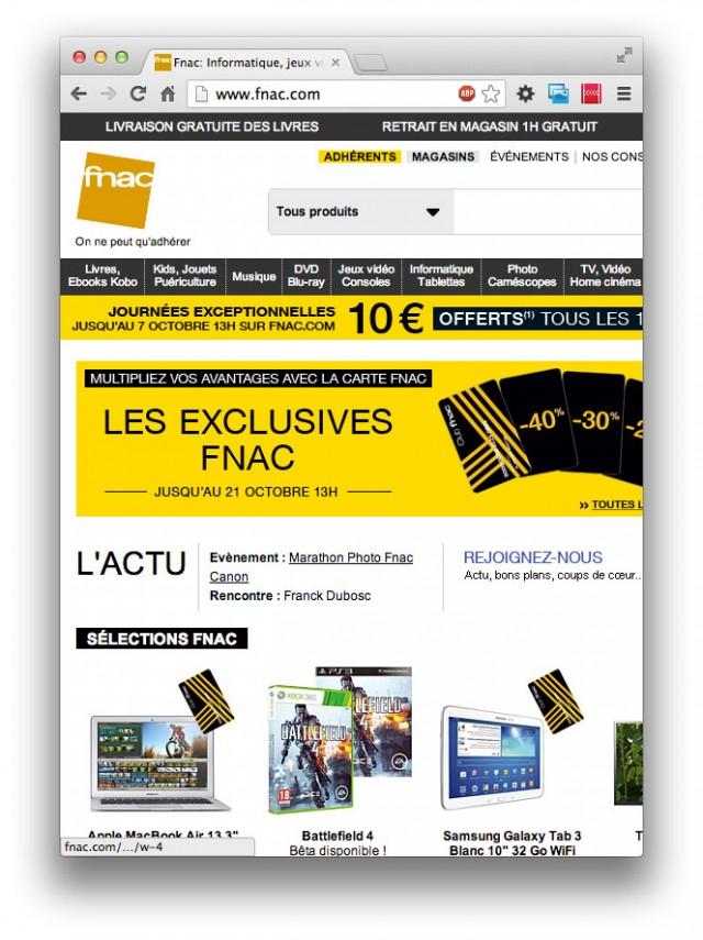 Le site de la Fnac en 640 pixels de large