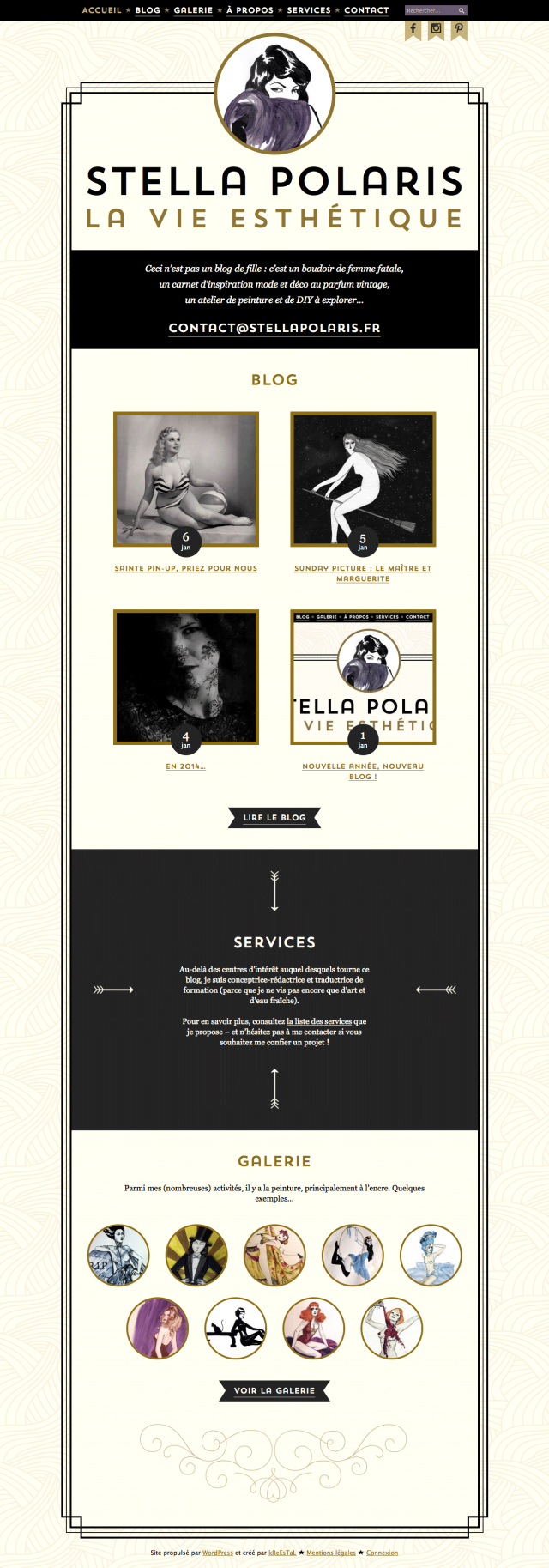 Stella Polaris : page d'accueil desktop