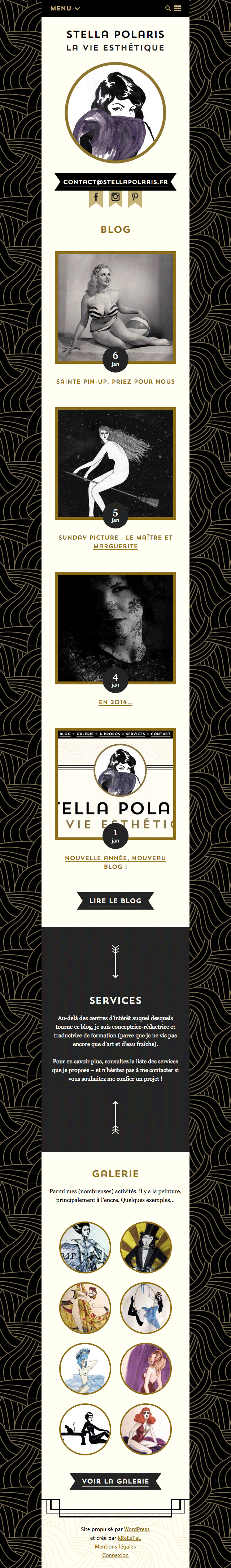 Stella Polaris : page d'accueil mobile