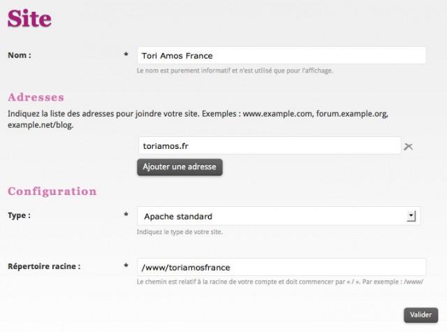 Formulaire d'ajout de site chez Alwaysdata