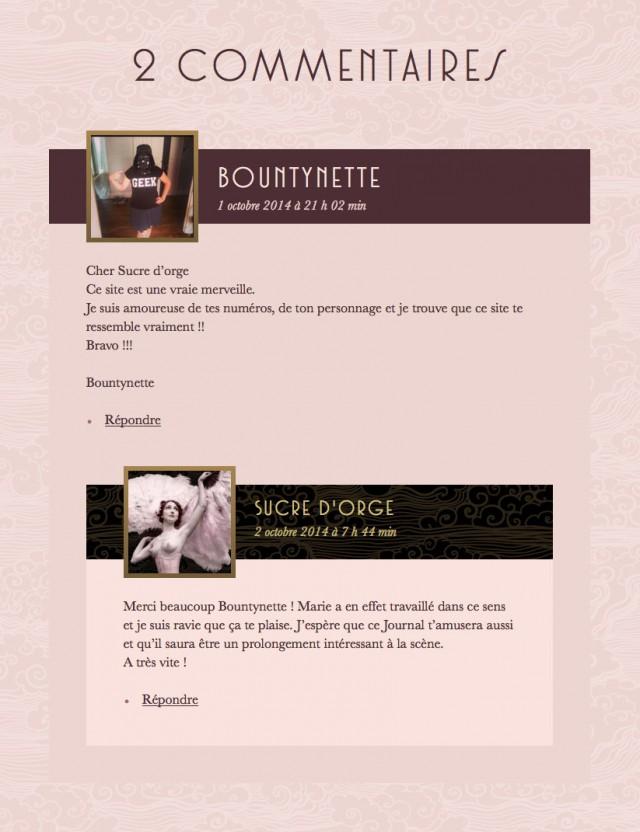 Commentaires sur le site de Sucre d'Orge