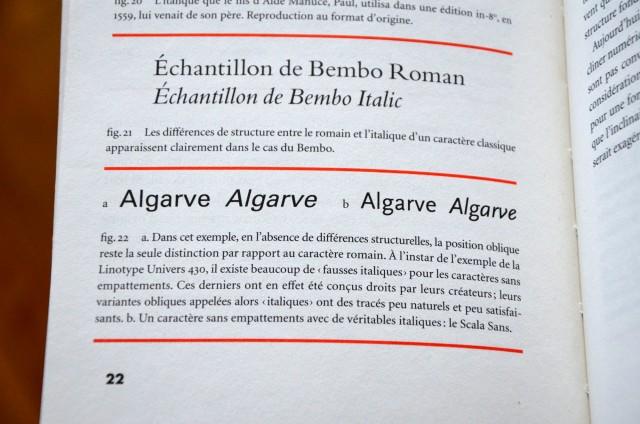 Faux italique (à gauche), vrai italique (à droite).