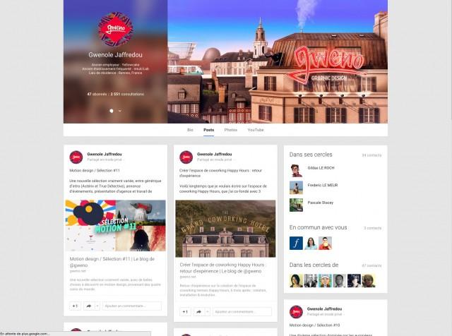 Le profil Google+ deGwenole Jaffredou