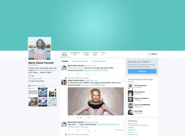 Le profil Twitter de Marie-Cécile Paccard