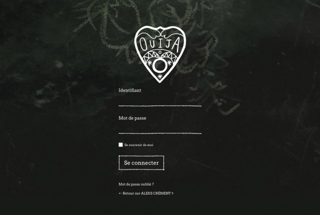 Interface de login sur le blog d'Aleks Crément